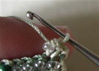 вязание полотна с бисером